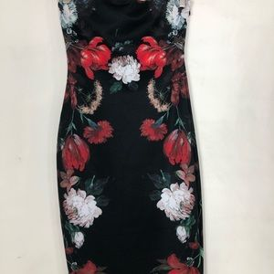 Express bodycon floral strapless dress